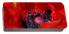 Red Poppy Close Up Portable Battery Charger by Bruce Bley