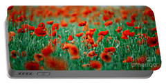 Red Poppy Flowers 04 Portable Battery Charger