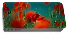 Red Poppy Flowers 05 Portable Battery Charger