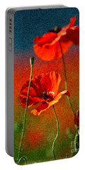 Red Poppy Flowers 08 Portable Battery Charger