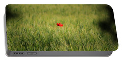 Red Poppy In A Field Portable Battery Charger