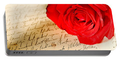 Red Rose Over A Hand Written Letter Portable Battery Charger