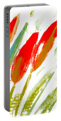 Portable Battery Charger featuring the digital art Red Tulips by Barbara Moignard