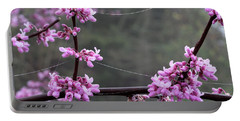 Redbud With Webs And Dew Portable Battery Charger