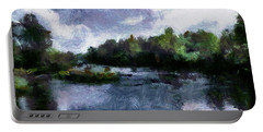 Portable Battery Charger featuring the painting Rideau River View From A Bridge by Mario Carini