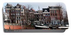 Portable Battery Charger featuring the digital art River Scenes From Amsterdam by Carol Ailles