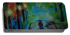 Portable Battery Charger featuring the painting Romantic Stroll Series 1 by Leslie Allen