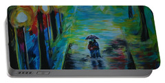 Portable Battery Charger featuring the painting Romantic Stroll Series II by Leslie Allen