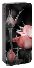 Roses In Pink And Gray Portable Battery Charger by Michelle Joseph-Long