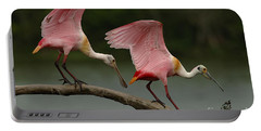 Rosiette Spoonbills Portable Battery Charger by Bob Christopher