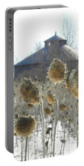 Round Barn With Sunflowers Portable Battery Charger