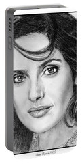 Portable Battery Charger featuring the drawing Salma Hayek In 2005 by J McCombie