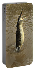 Salt Water Crocodile Portable Battery Charger by Bob Christopher