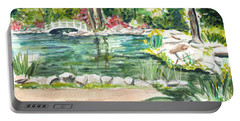Portable Battery Charger featuring the painting Sayen Pond by Clara Sue Beym
