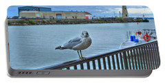 Portable Battery Charger featuring the photograph Seagull At Lighthouse by Michael Frank Jr