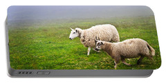 Sheep In Misty Meadow Portable Battery Charger