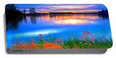 Portable Battery Charger featuring the photograph Shoreline Sundown by Randall Branham