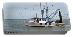 Shrimp Boat And Gulls Portable Battery Charger