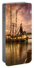 Shrimp Boat At Sunset II Portable Battery Charger