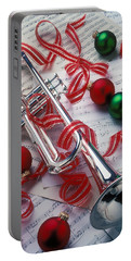 Silver Trumper And Christmas Ornaments Portable Battery Charger by Garry Gay