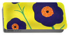 Portable Battery Charger featuring the painting Sky High Flowers by Alys Caviness-Gober