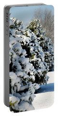 Portable Battery Charger featuring the photograph Snow In The Trees by Mark Dodd