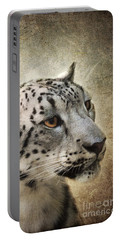 Snow Leopard Portrait Portable Battery Charger by Jai Johnson