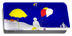 Portable Battery Charger featuring the digital art Snowman Family Holiday by Barbara Moignard