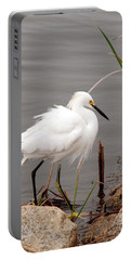 Snowy Egret Portable Battery Charger by Kay Lovingood