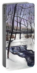 Portable Battery Charger featuring the painting Snowy Shawnee Stream by Clara Sue Beym