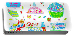 Portable Battery Charger featuring the painting Soft Serve by Beth Saffer