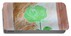 Portable Battery Charger featuring the painting Solitary Rose by Sonali Gangane