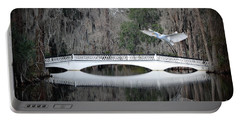 Portable Battery Charger featuring the photograph Southern Plantation Flying Egret by Dan Friend