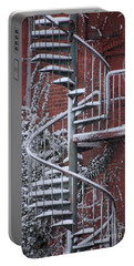 Spiral Staircase With Snow And Cooper's Hawk Portable Battery Charger