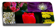 Portable Battery Charger featuring the digital art Springtime Blooms Collage by Kay Novy