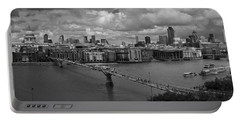 St Paul's And The City Panorama Bw Portable Battery Charger