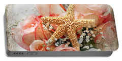Starfish And Pink Roses Portable Battery Charger by Andee Design