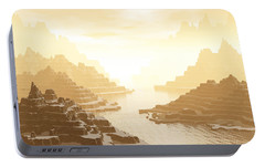 Portable Battery Charger featuring the digital art Misted Mountain River Passage by Phil Perkins