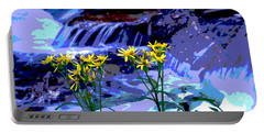 Stream And Flowers Portable Battery Charger by Zawhaus Photography