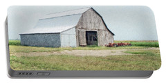Portable Battery Charger featuring the digital art Summer Barn by Debbie Portwood