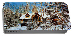 Portable Battery Charger featuring the painting Summer House Portrait In Winter by Hanne Lore Koehler