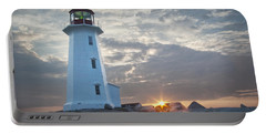 Sunrise At Peggys Cove Lighthouse In Nova Scotia Number 041 Portable Battery Charger by Randall Nyhof