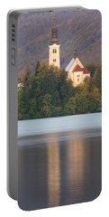 Sunrise Over Lake Bled And The Island Church Portable Battery Charger
