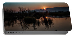 Sunrise Over The Beaver Pond Portable Battery Charger