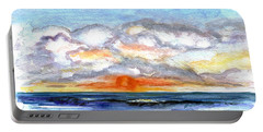 Portable Battery Charger featuring the painting Sunset Clouds by Clara Sue Beym