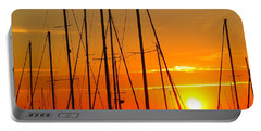 Portable Battery Charger featuring the mixed media Sunset In A Harbour Digital Photo Painting by Rogerio Mariani