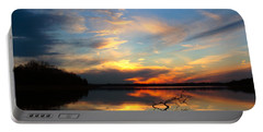 Sunset Over Calm Lake Portable Battery Charger