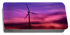 Portable Battery Charger featuring the photograph Sunset Windmill by Alyce Taylor
