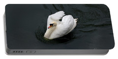 Portable Battery Charger featuring the photograph Swan On Black Water by Les Palenik