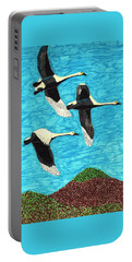 Swans In Flight Portable Battery Charger by Wendy McKennon